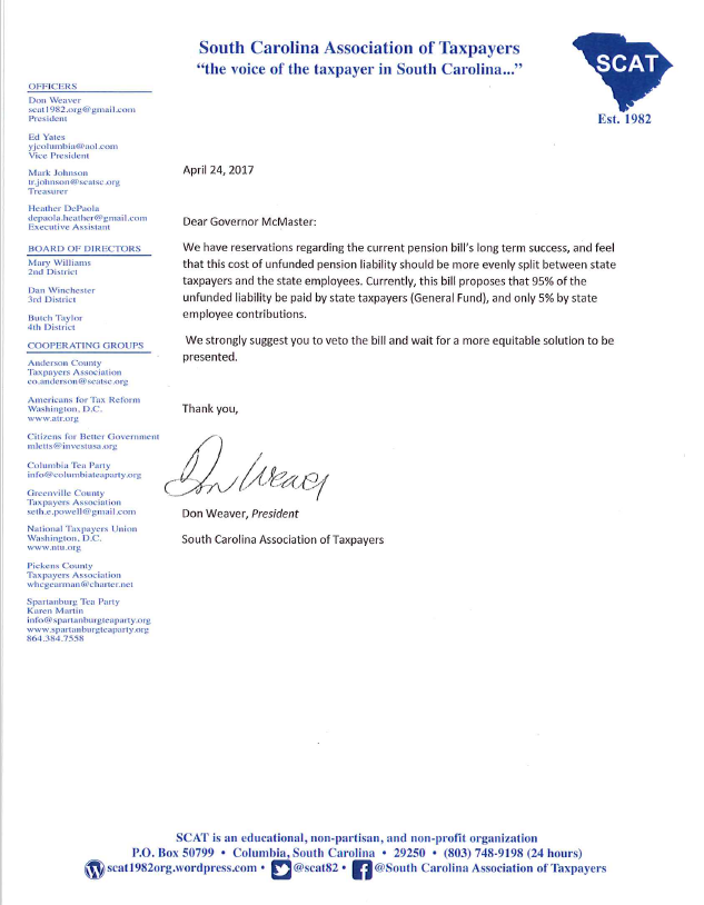 SCAT's Letter to Governor McMaster Regarding the PensionBill